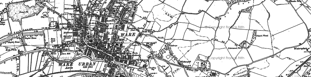 Old map of Ware in 1895