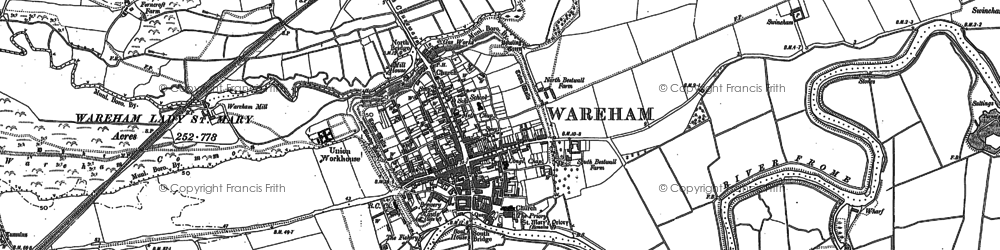 Old map of Wareham in 1886