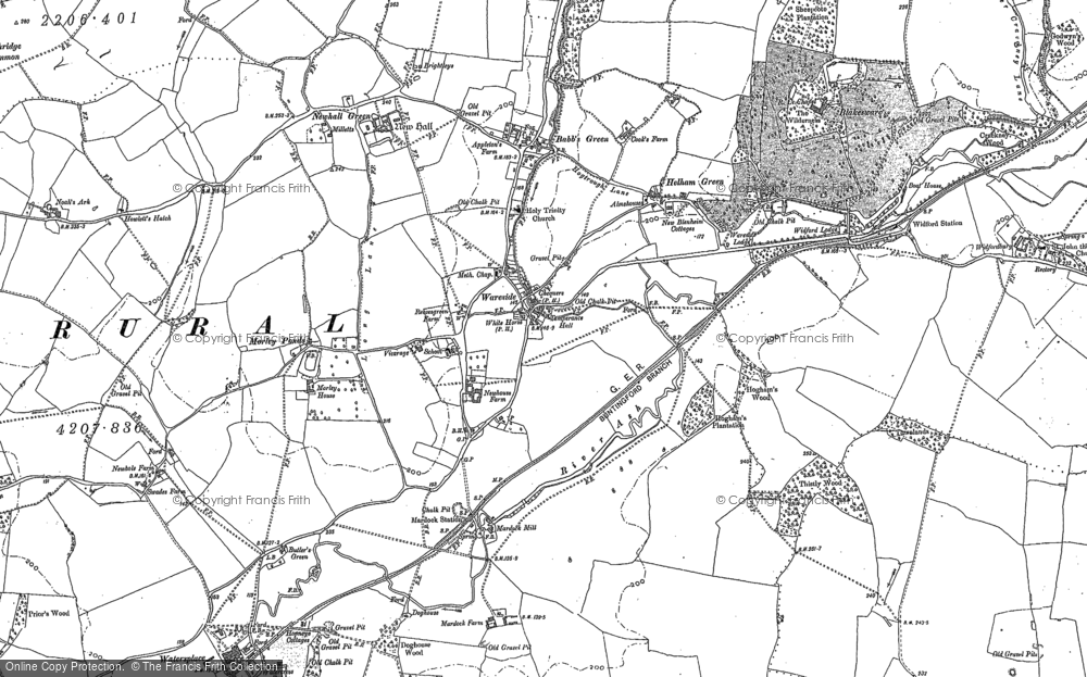 Old Map of Historic Map covering Babbs Green in 1919
