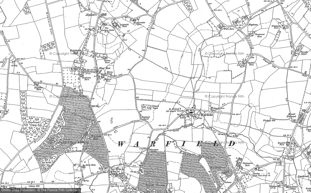 Old Map of Historic Map covering Wick Hill in 1898