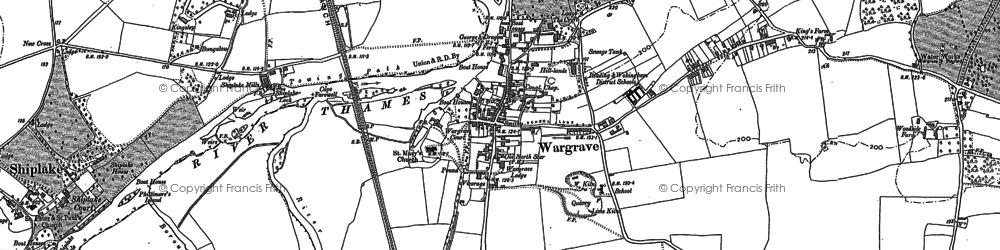 Old map of Wargrave in 1910