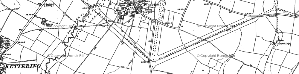 Old map of Warkton in 1884