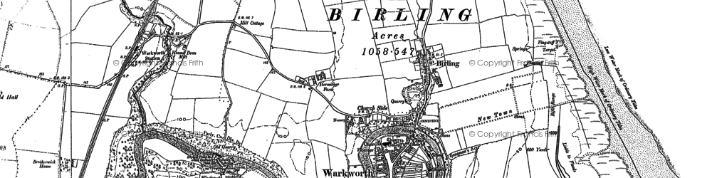 Old map of Warkworth in 1896