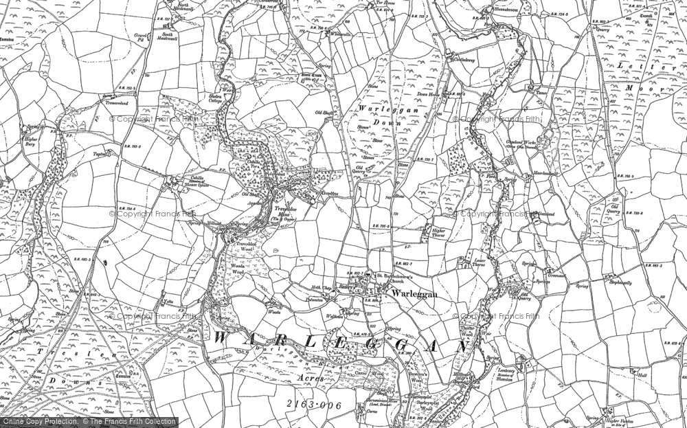 Old Map of Historic Map covering Letter Moor in 1882