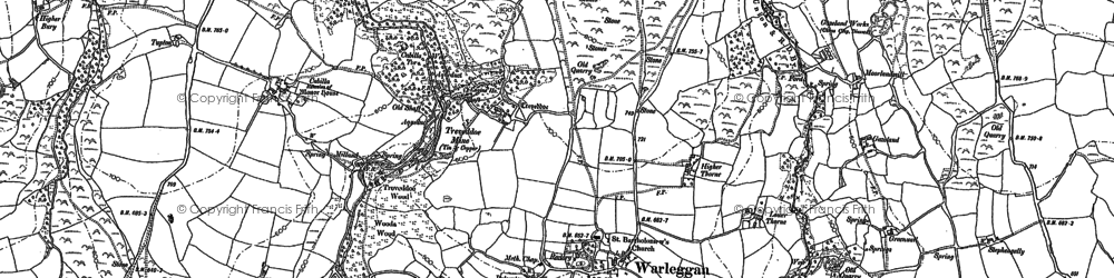Old map of Warleggan in 1882