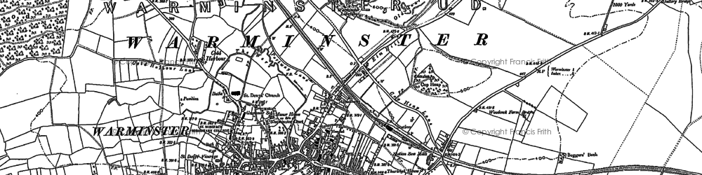 Old map of Warminster in 1899