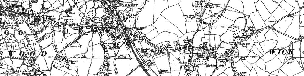 Old map of Cadbury Heath in 1881