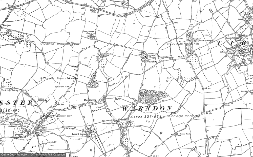 Old Map of Historic Map covering Astwood in 1884