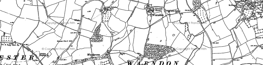 Old map of Astwood in 1884