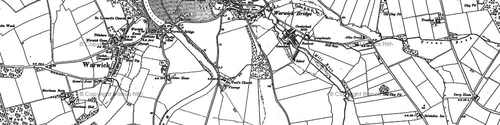 Old map of Warwick Bridge in 1899
