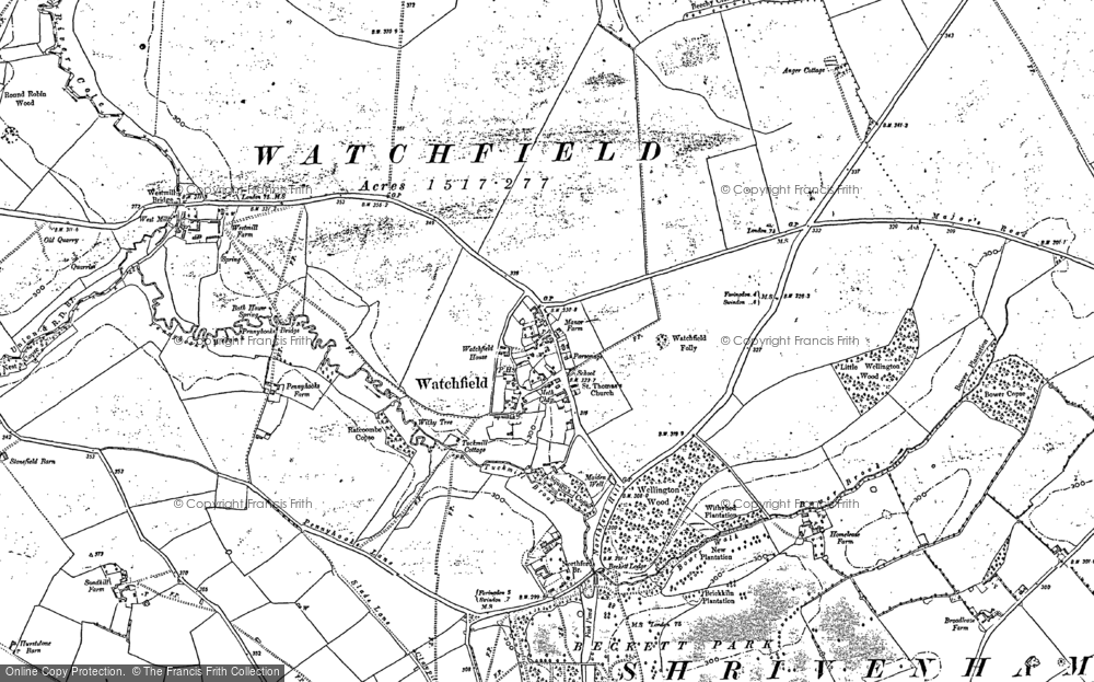 Old Map of Watchfield, 1910 in 1910