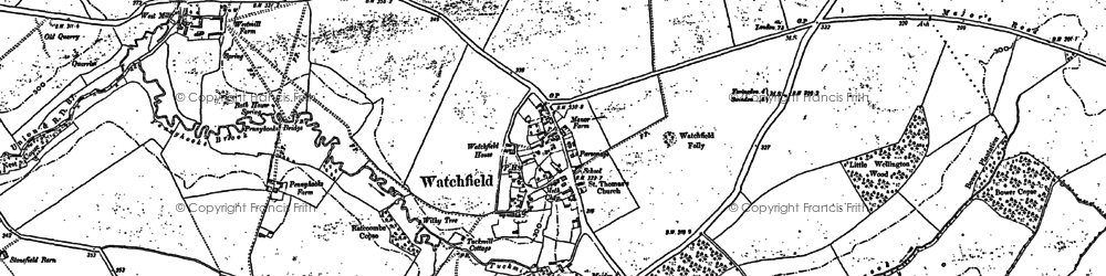Old map of Watchfield in 1910
