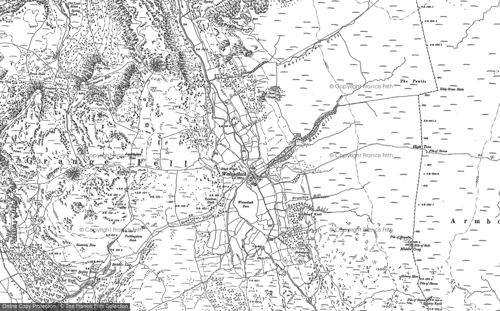 Old Map of Historic Map covering Launchy Gill in 1897