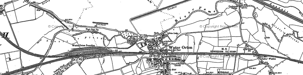 Old map of Water Orton in 1886