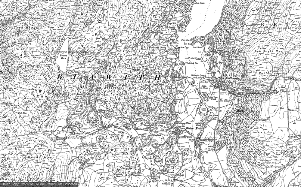 Old Map of Historic Map covering Wool Knott in 1911
