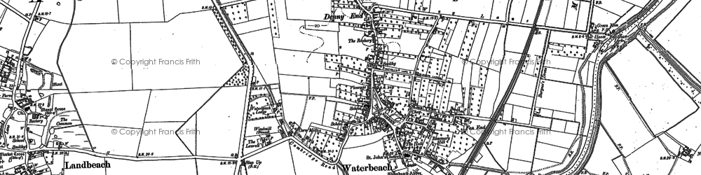 Old map of Waterbeach in 1886
