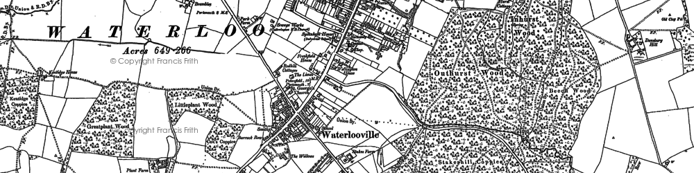 Old map of Waterlooville in 1907