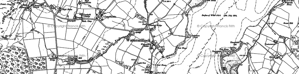 Old map of Wreay in 1898