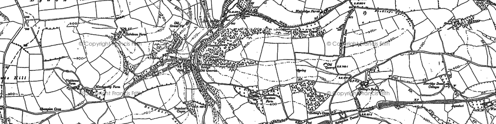 Old map of Waterrow in 1887