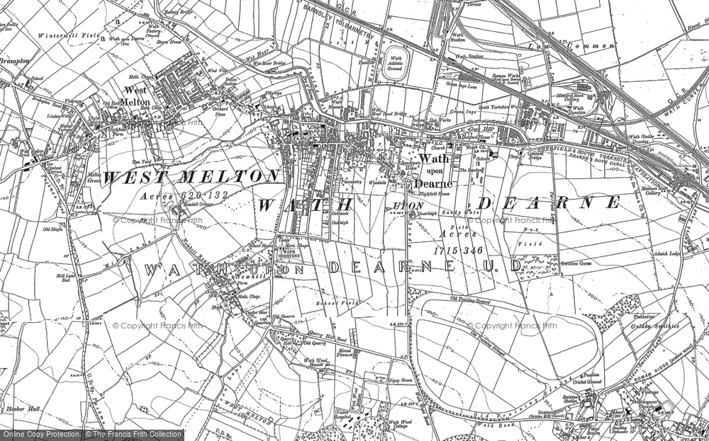 Old Map of Wath Upon Dearne, 1890 in 1890