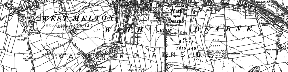 Old map of Wath Upon Dearne in 1890