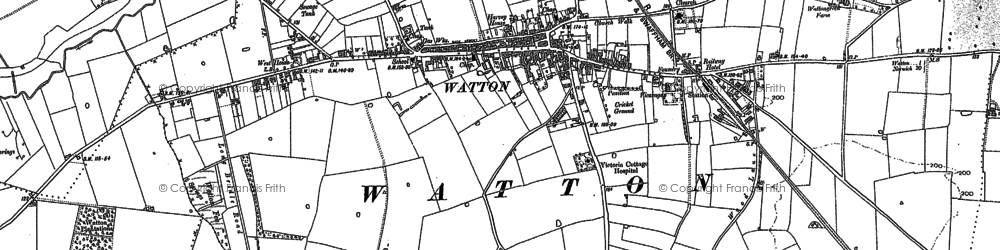 Old map of Watton in 1882