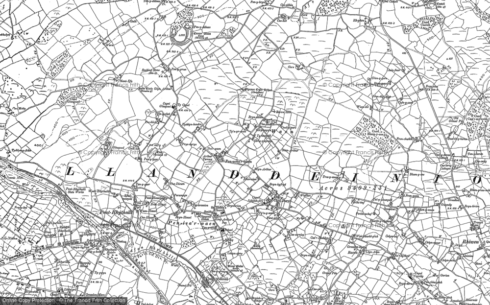 Old Map of Historic Map covering Afon Rhythallt in 1888