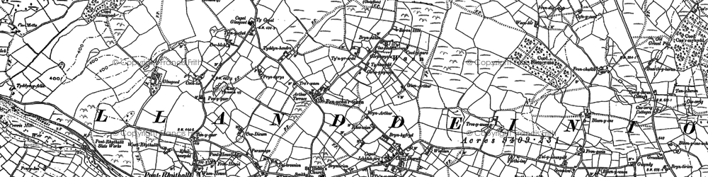 Old map of Afon Rhythallt in 1888