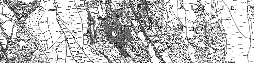 Old map of Waunlwyd in 1879