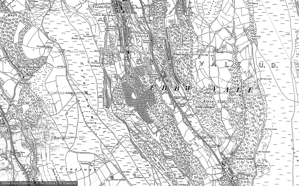 Old Map of Historic Map covering Bedwellty Pits in 1879