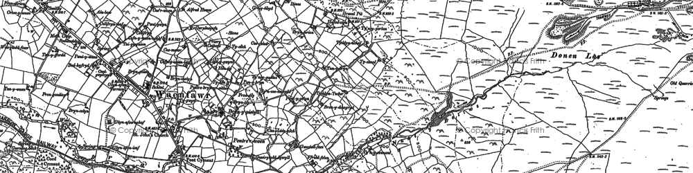 Old map of Waunfawr in 1888