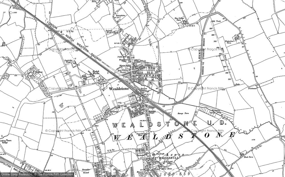 Map of Wealdstone, 1895