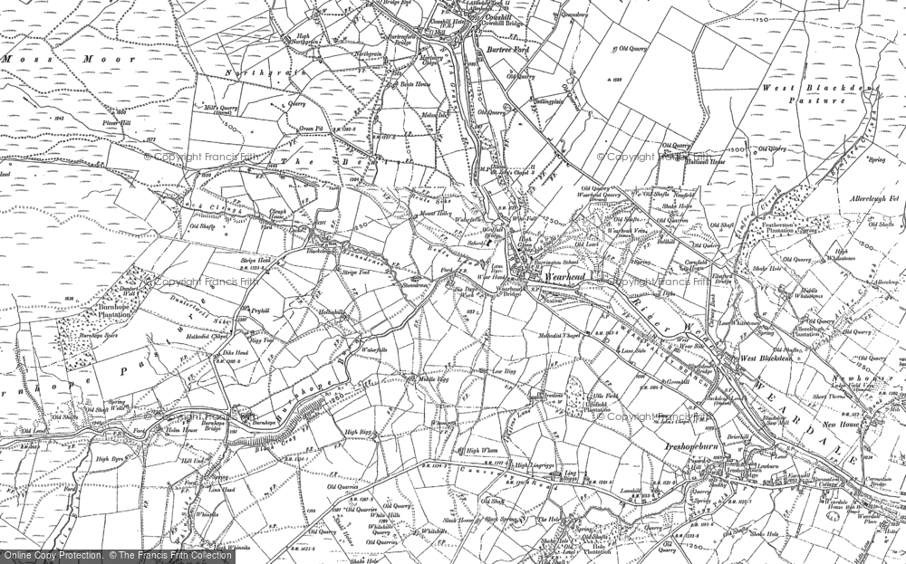 Old Map of Wearhead, 1895 - 1896 in 1895
