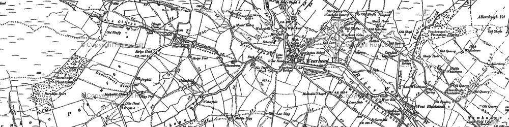 Old map of Wearhead in 1895