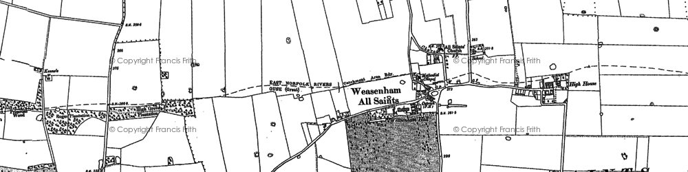 Old map of Weasenham St Peter in 1884
