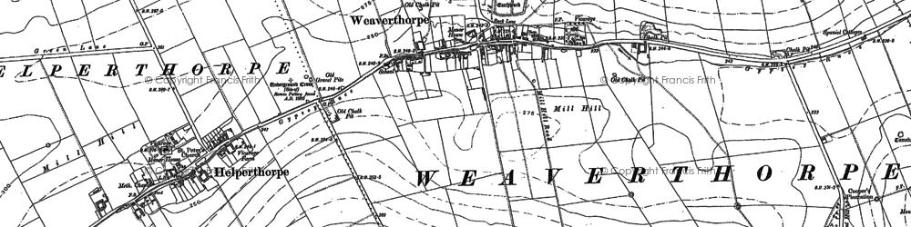 Old map of Weaverthorpe in 1888