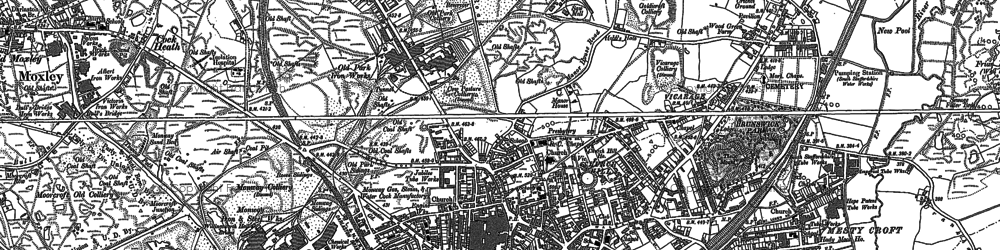 Old map of Wednesbury in 1885