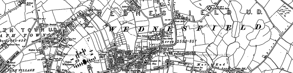 Old map of Wood Hayes in 1883