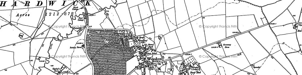 Old map of Weedon in 1898