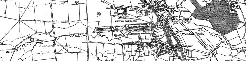 Old map of Weedon Bec in 1883