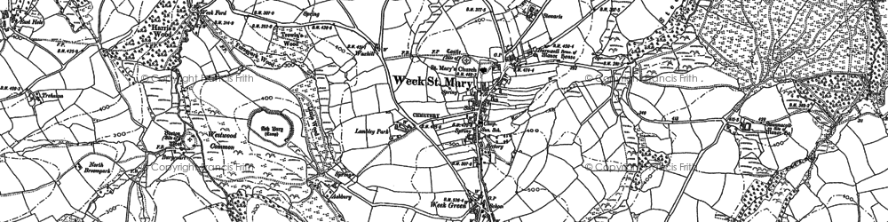 Old map of Week Green in 1905