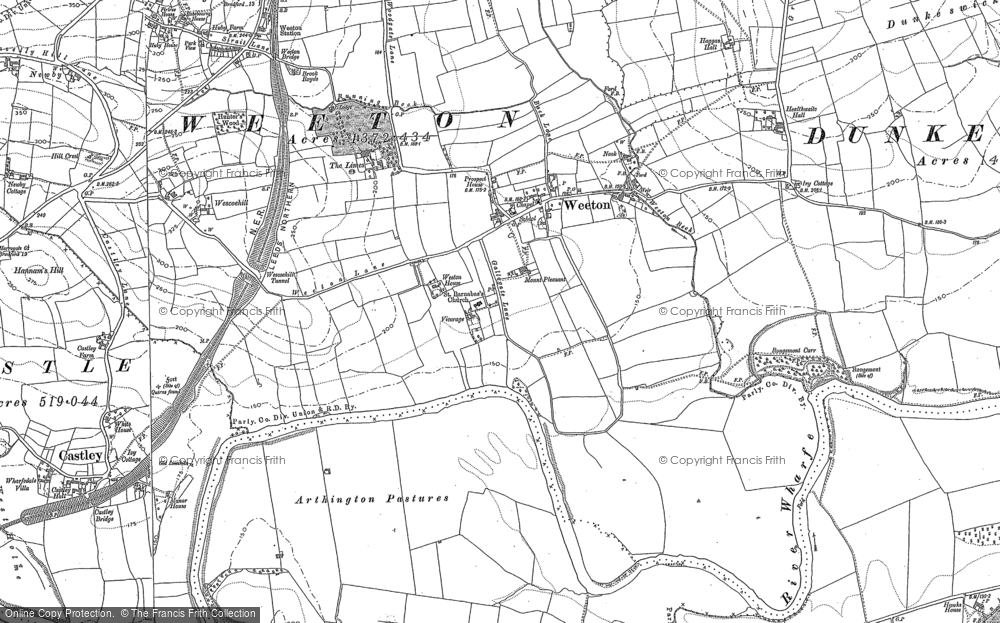 Old Map of Historic Map covering Arthington Pastures in 1888