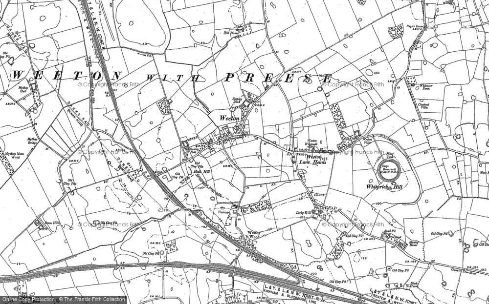 Old Map of Historic Map covering Todderstaffe Hall in 1891