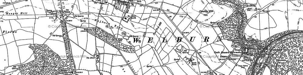 Old map of Welburn in 1889