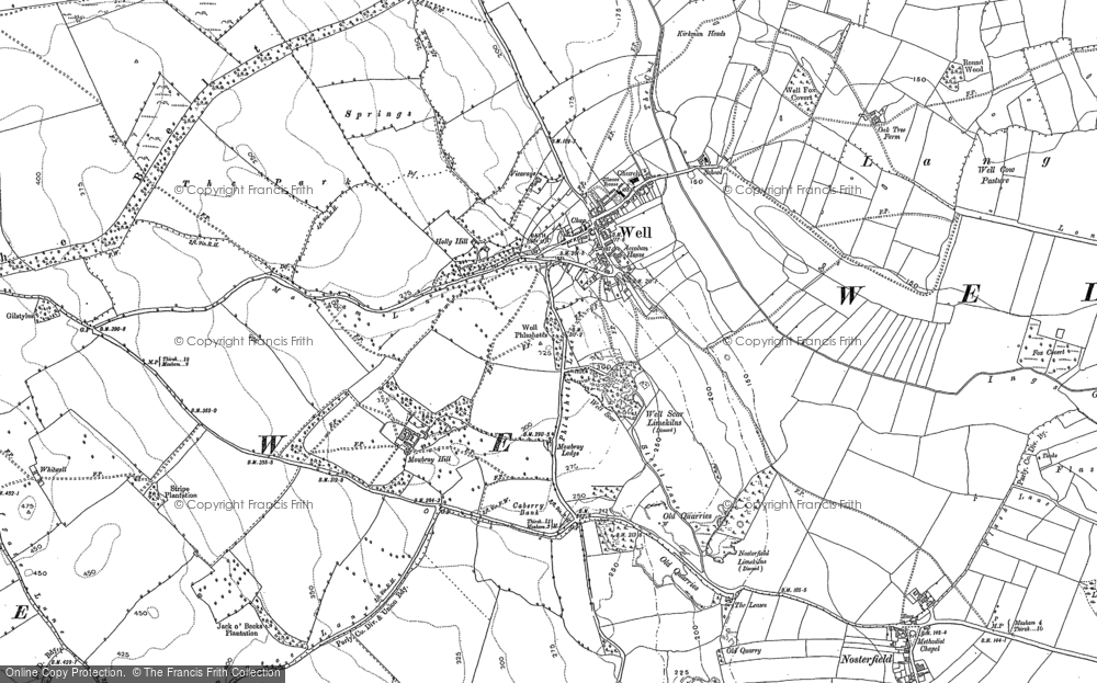 Old Map of Historic Map covering Langwith in 1890