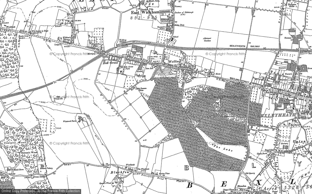 Old Map of Historic Map covering Abbey Wood in 1894