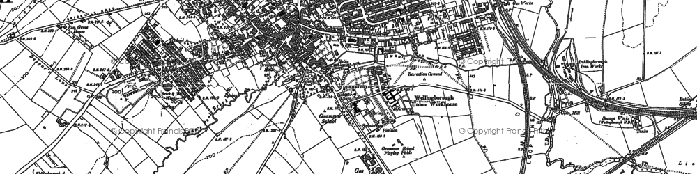 Old map of Wellingborough in 1885