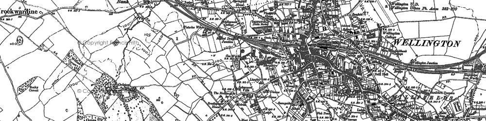 Old map of Wellington in 1881