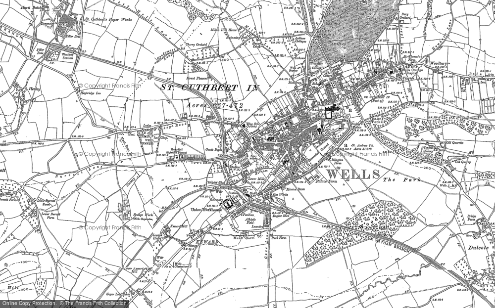 Old Map of Wells, 1884 - 1886 in 1884