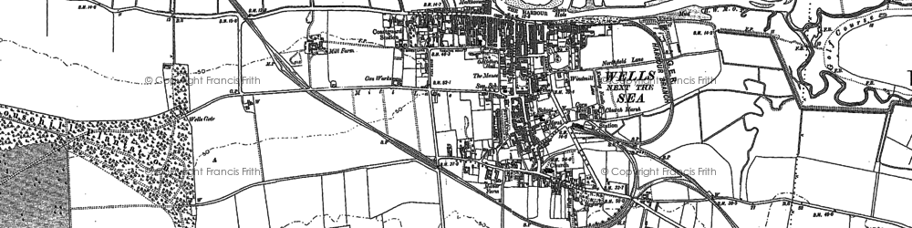 Old map of Wells-Next-The-Sea in 1886